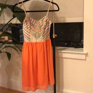 Boutique Boho Tribal/Aztec Dress - Orange